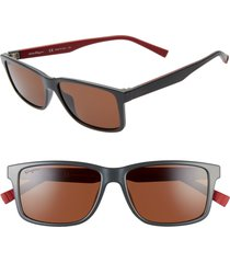 men's salvatore ferragamo 57mm square sunglasses - dark grey/ red