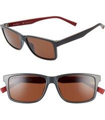 salvatore ferragamo 57mm square sunglasses in dark grey/red at nordstrom