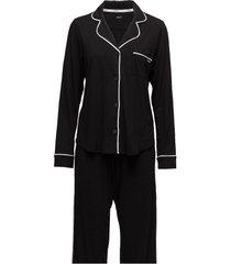 dkny new signature l/s top & pant pj set pyjamas svart dkny homewear
