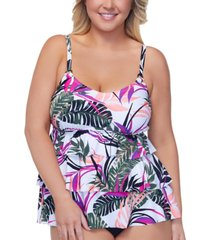 island escape plus size tiered underwire tankini top, created for macy's women's swimsuit