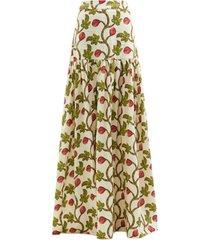 margarita fig-print linen maxi skirt