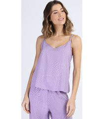 regata de pijama feminina estampada de poá alças finas lilás