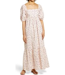 fourteenth place stripe puff sleeve midi dress, size x-small in pink lilac ditsy at nordstrom