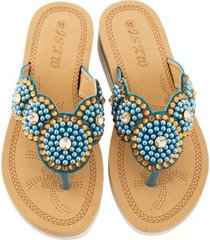 cómodas sandalias de mujer perla casual-azul