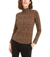 bar iii animal print turtleneck top, created for macy's