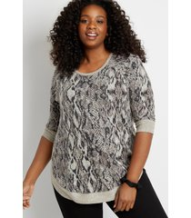 maurices plus size womens gray snakeskin round hem pullover