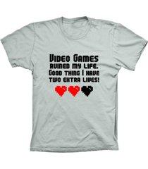 camiseta baby look lu geek games my life prata - prata - feminino - dafiti