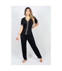 pijama adulto feminino longo aberto malha preto