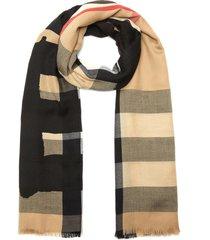 eyelash fringe check cashmere scarf