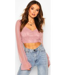 dobby chiffon sweetheart neck oversized sleeve top, rose