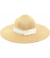 chapéu bijoulux de praia com renda marfim