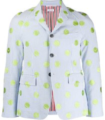 thom browne tennis embroidery sports coat - blue