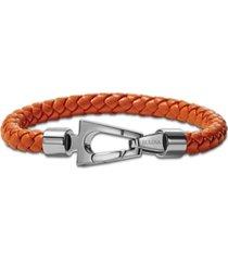 bulova men's orange braided leather bracelet in stainless steel