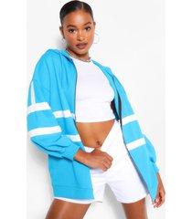 extreem oversized colour block hoodie, blauw
