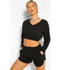v neck crop sweater and short set, black