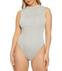 women's naked wardrobe jersey sleeveless bodysuit, size small - grey