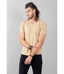 camiseta cafezal gola v - cáqui
