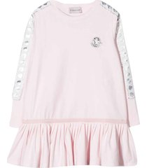 moncler pink dress with logo application