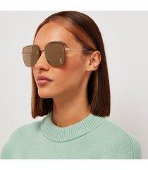 saint laurent women's square metal sunglasses - gold/brown