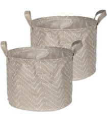 design imports polyethylene coated woven paper laundry bin tribal chevron stone round medium set of 2