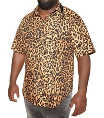 mvp collections big and tall animal print spiked collar button-up shirt