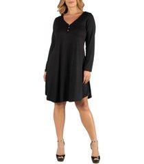 24seven comfort apparel henley style long sleeve plus size dress