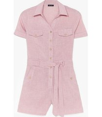 womens work from home belted romper - dusky pink