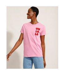 """t-shirt de algodão uh la la"""" flocada manga curta decote redondo mindset rosa"""""""
