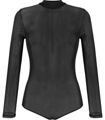 alchemy long-sleeve mesh bodysuit - black