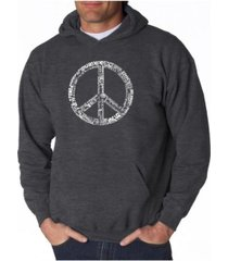 la pop art men's word art hoodie - peace sign in 77 languages