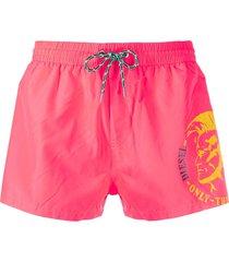 diesel logo drawstring swim shorts - pink