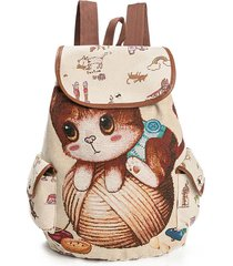 canvas casual cartoon cat modello scuola borsa zaino spalla borsas studente borsas