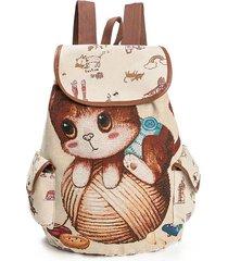 canvas casual cartoon cat modello scuola borsa zaino spalla borsas studente borsas