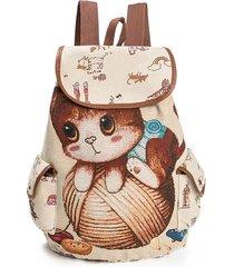 sacchetti di spalla dello zaino dello zaino del sacchetto di scuola del modello del gatto del fumetto casuale della tela di canapa sacchetti dello studente