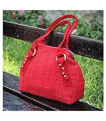 wool shoulder bag, 'wanderer in red' (peru)