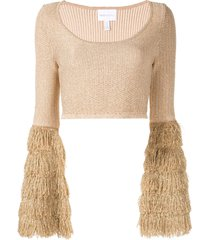 alice mccall tiered fringe crop top - brown