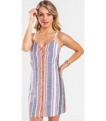 maya stripe button down dress - multi