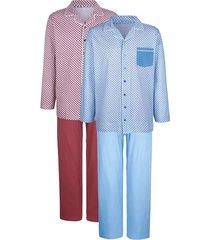 pyjama's per 2 stuks g gregory lichtblauw::bordeaux
