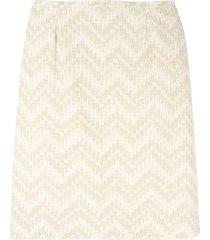 jean louis scherrer pre-owned chevron striped skirt - neutrals