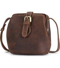 retro vera pelle secchio borsa spalla borsa borsa a tracolla borsa per donna