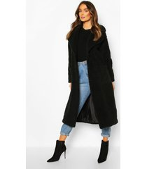 lange faux fur teddy jas, zwart