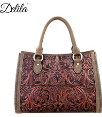 4 clrs- montana west delila tooling 100% leather satchel lea-6016