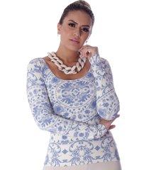 blusa ficalinda manga longa estampa exclusiva azulejo português azul decote redondo