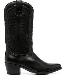 paul warmer leather cowboy boots - black
