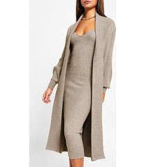 river island womens light brown long sleeve knitted maxi cardigan