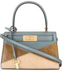 tory burch lee patchwork leather mini tote bag - blue