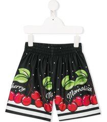 monnalisa cherry print shorts - black