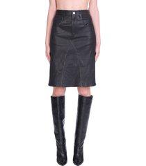 isabel marant étoile fiali skirt in black leather