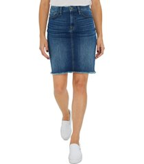 jen7 frayed-hem denim skirt