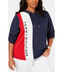 tommy hilfiger sport plus size colorblocked logo hoodie, created for macy's